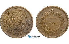 AB128, Korea, Yi Hyong, 1 Fun Yr. 504 (1895) Brass, KM# 1105, VF-XF
