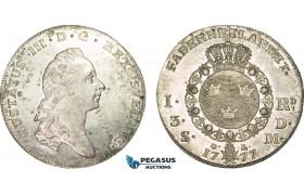 AB153, Sweden, Gustav III, Riksdaler 1777 OL, Stockholm, Silver (29.18g) SM 44, Lustrous aXF (few marks)