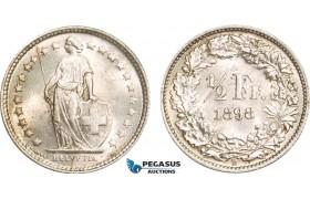 AB154, Switzerland, 1/2 Franc 1898-B, Bern, Silver, aUNC