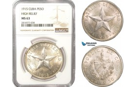 AB160, Cuba, Star Type Peso 1915, Philadelphia, Silver, NGC MS63, High Relief