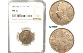 AB161, Egypt, Fuad, 10 Milliemes 1929 BP, Budapest, NGC MS62