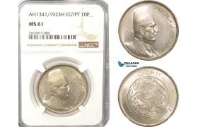 AB163, Egypt, Fuad, 10 Piastres 1923-H, Heaton, Silver, NGC MS61