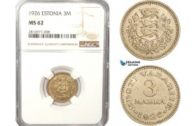 AB165, Estonia, 3 Mark 1926, NGC MS62