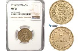 AB166, Estonia, 5 Mark 1926, NGC MS63, Rare!