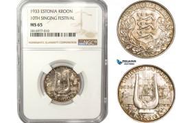 AB167, Estonia, 1 Kroon 1933, Silver, NGC MS65