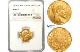 AB169, France, Napoleon III, 20 Francs 1855-A, Paris, Gold, NGC MS62 (Anchor)