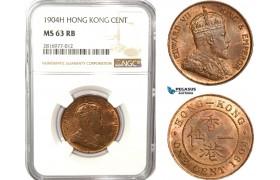 AB171, Hong Kong, Edward VII, 1 Cent 1904-H, Heaton, NGC MS63RB