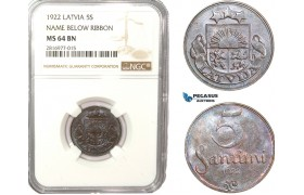 AB173, Latvia, 5 Santimi 1922, NGC MS64BN