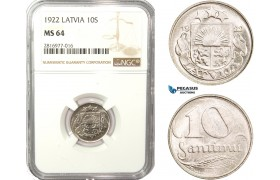 AB174, Latvia, 10 Santimi 1922, NGC MS64, Pop 2/2
