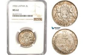 AB176, Latvia, 2 Lati 1926, Silver, NGC MS62