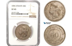 AB181, Straits Settlements, 50 Cents 1896, Silver, NGC XF45