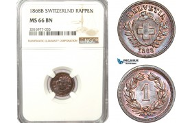 AB182, Switzerland, 1 Rappen 1868-B, Bern, NGC MS66BN, Pop 1/0, Finest!