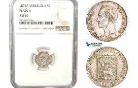 AB184, Venezuela, 5 Centavos 1876-A, Paris, Silver, NGC AU50