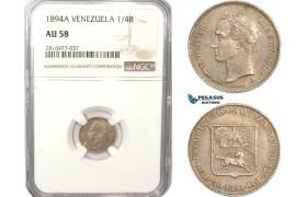 AB185, Venezuela, 1/4 Bolivar 1894-A, Paris, Silver, NGC AU58