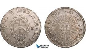 AB187, Argentina, Rio De La Plata, 8 Reales 1832 RA-P, Rioja, Silver (26.68g) XF-AU (Scratches)