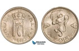 AB190, Norway, Haakon VII. 25 Øre 1922, Kongsberg, AU-UNC