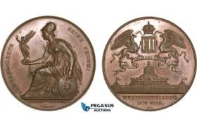 AB192, Austria, Bronze Medal 1873 (Ø53mm, 50.8g) by Schmahlfeld & Christensen, Owl, Athena