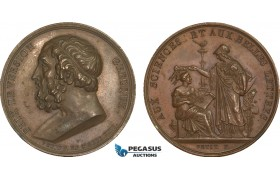 AB195, France & Greece, Bronze Medal (1822) (Ø38mm, 22.2g) by Petit, Minerva, For Science & Calligraphy