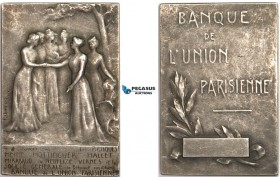 AB196, France, Silver Art Nouveau Plaque Medal 1910 (40x27mm, 25.3g) Paris Bank Union
