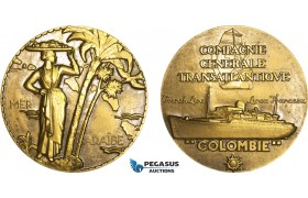 AB198, France, Bronze Medal ND (Ø59mm, 101g) by Renard, Transatlantique, Colombia, Caribbean, Ships