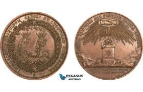 AB203, Sweden, Bronze Masonic Medal 1850 (Ø43mm, 33.6g) by Lundgren, Wedding of Crown Prince Karl