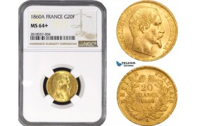 AB209, France, Napoleon III, 20 Francs 1860-A, Paris, Gold, NGC MS64+