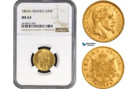 AB210, France, Napoleon III, 20 Francs 1863-A, Paris, Gold, NGC MS63