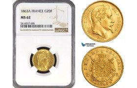 AB211, France, Napoleon III, 20 Francs 1863-A, Paris, Gold, NGC MS62