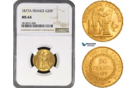 AB214, France, Third Republic, 20 Francs 1877-A, Paris, Gold, NGC MS64