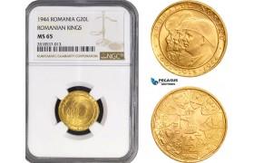 "AB218, Romania, Mihai I, 20 Lei 1944 ""Ardealul Nostru"" Gold, NGC MS65"