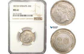 AB228-S, Straits Settlements, Victoria, 20 Cents 1872-H, Heaton, Silver, NGC MS61