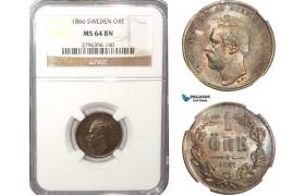AB229-F, Sweden, Carl XV, 1 Öre 1866, Stockholm, NGC MS64BN