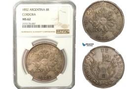 AB230, Argentina, Cordoba, 8 Reales 1852, Silver, NGC MS62