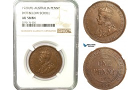 AB234, Australia, George V, Penny 1920 (M) Melbourne, NGC AU58BN (Dot below scroll) Rare!