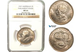 AB235, Australia, George V, Florin / 2 Shillings 1927, Silver, NGC MS64 (Parliament House)