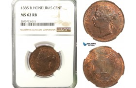 AB236, British Honduras, Victoria, 1 Cent 1885, NGC MS62RB