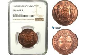 AB240, British North Borneo, 1 Cent 1891-H, Heaton, NGC MS64RB