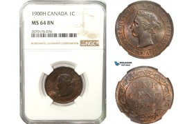 AB241, Canada, Victoria, 1 Cent 1900-H, Heaton, NGC MS64BN