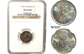 AB253, Canada, George V, 1 Cent 1931, NGC MS63BN