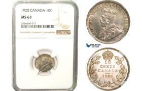 AB255, Canada, George V, 10 Cents 1920, Silver, NGC MS63