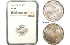 AB257, Ceylon, Victoria, 10 Cents 1893, Silver, NGC MS66