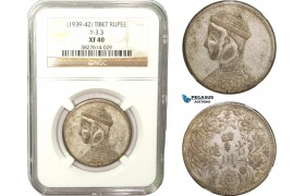 AB259, China, Tibet, Rupee ND (1939-42) Silver, Y-3.3, NGC XF40