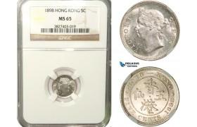 AB264, Hong Kong, Victoria, 5 Cents 1898, Silver, NGC MS65