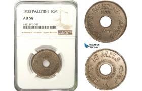 AB266, Palestine, 10 Mils 1933, London, NGC AU58