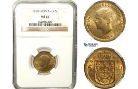 AB267, Romania, Mihai I, 5 Lei 1930-H, Heaton, NGC MS64