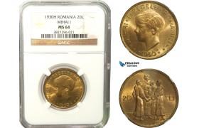 "AB268, Romania, Mihai I, ""Hora"" 20 Lei 1930-H, Heaton, NGC MS64"