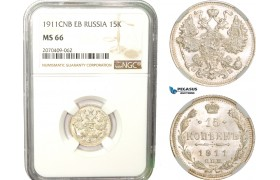 AB269, Russia, Nicholas II, 15 Kopeks 1911 СПБ-ЭБ, St. Petersburg, Silver, NGC MS66