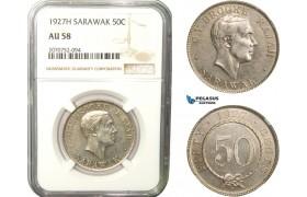 AB278, Sarawak, C.V. Brooke, 50 Cents 1927-H, Heaton, Silver, NGC AU58