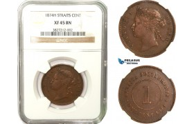 AB279, Straits Settlements, Victoria, 1 Cent 1874-H, Heaton, NGC XF45BN