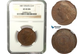 AB280, Straits Settlements, Victoria, 1 Cent 1887, NGC XF45BN